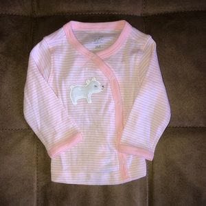 Peach striped bear top with snaps